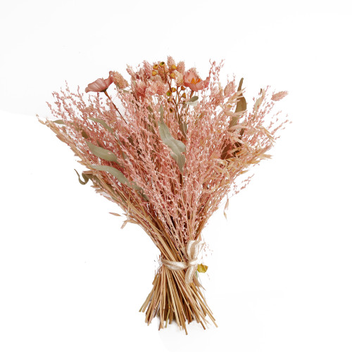 Rustic Dried Bound Flower And Leaf Bouquet Pink