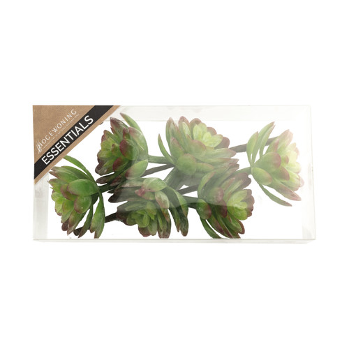 Artificial Succulent Pick Green Red 12cm/4.75 Inches Box of 2