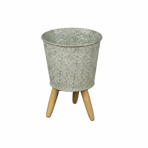 Metal Planter Tub with Wooden Legs