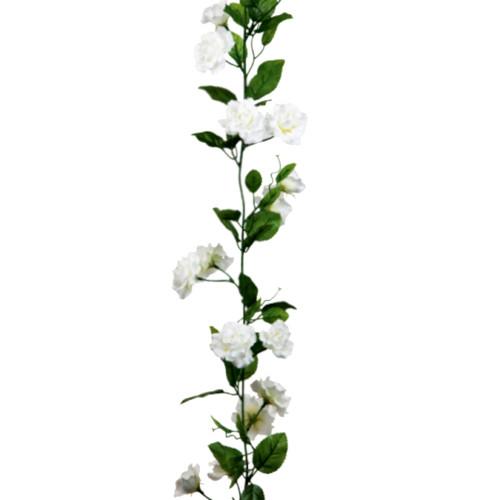 Faux Silk White Rose Flower Garland