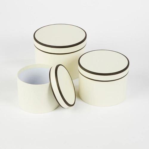 Couture Round Hatbox Planters Cream/Chocolate
