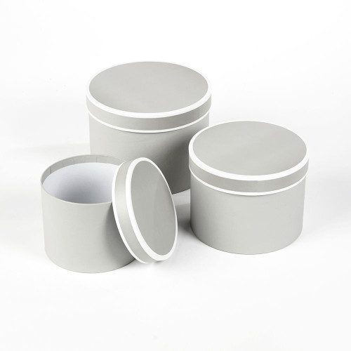 Couture Round Hatbox Planters Grey/White