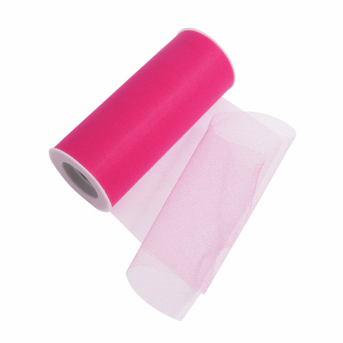 Tulle Polyester Ribbon Hot Pink