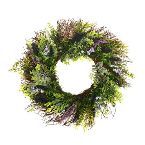 Artificial Lavender Brown Twig Wreath