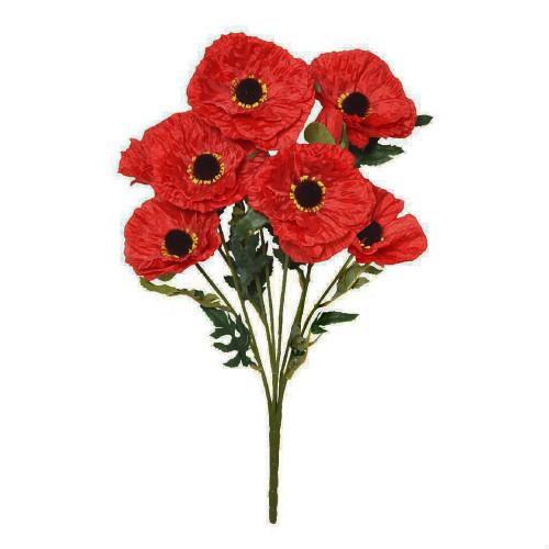 Faux Silk Red Poppy Bouquet 9 Heads
