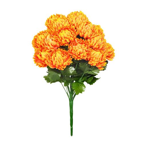 Faux Silk Chrysanthemum Bouquet Orange