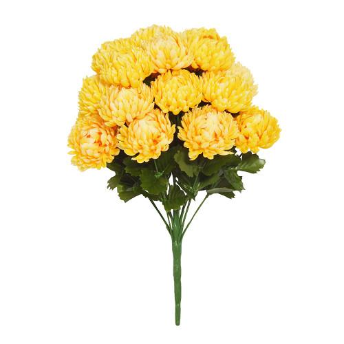 Faux Silk Chrysanthemum Bouquet Yellow
