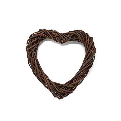 Heart Wreath Base Dark Brown Willow