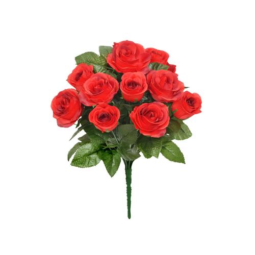 Faux Silk Open Rose Bouquet Red