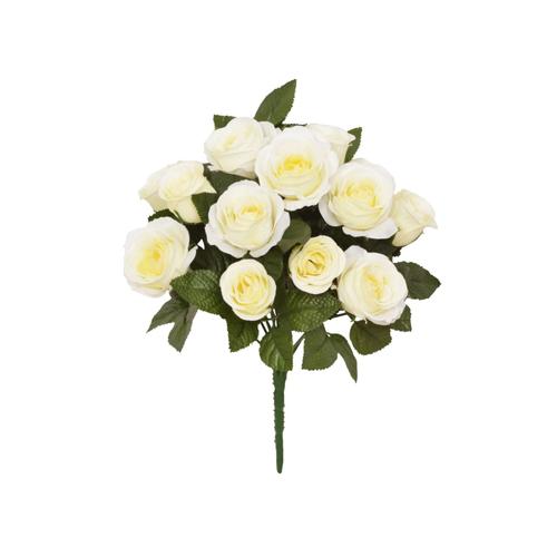 Faux Silk Open Rose Bouquet Ivory