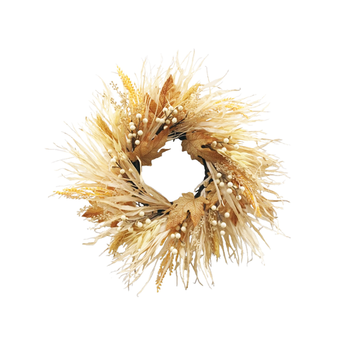 Luxury Autumn Grass Wreath With Berries And Foliage