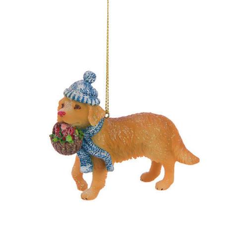 Golden Retriever Pup Festive Resin Hanging Tree Ornament