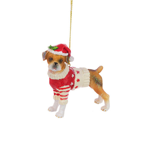 Boxer Pup Festive Resin Hanging Tree Ornament