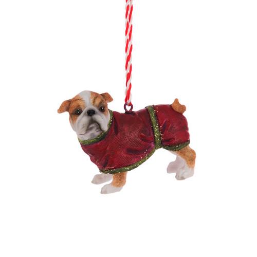 Bulldog Pup Festive Resin Hanging Tree Ornament