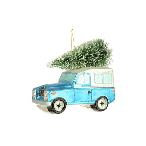 Land Rover With Christmas Tree Hanging Ornament Blue