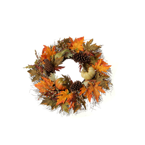 Autumn Foliage, Pumpkin, Berry and Cone Wreath 60cm/24 Inches