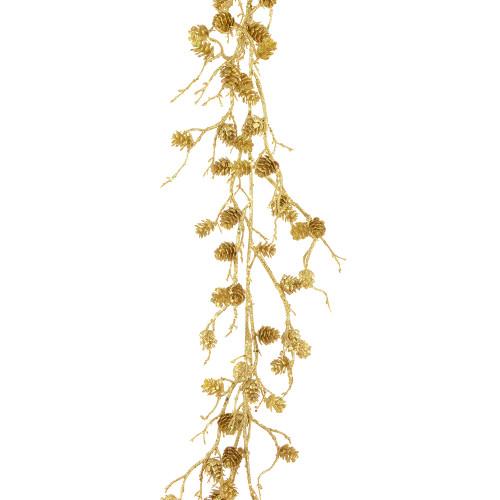 Sparkle Mini Pine Cone Garland Glitter Gold