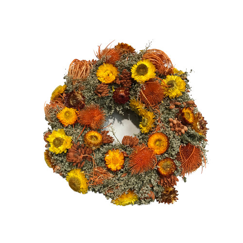 Rustic Autumn Wreath with Dried and Preserved Flowers