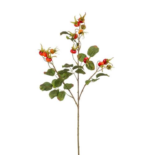 Artificial Orange Rosehip Fruit With Foliage Spray