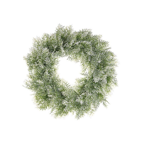Frosted Artificial Cedar Winter Wreath