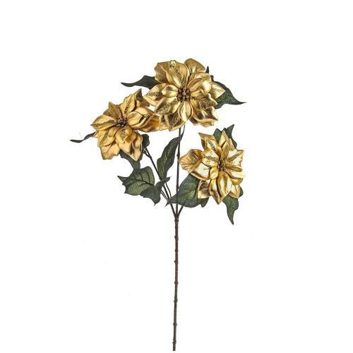 Faux Silk Poinsettia Flower Glitter Spray Gold