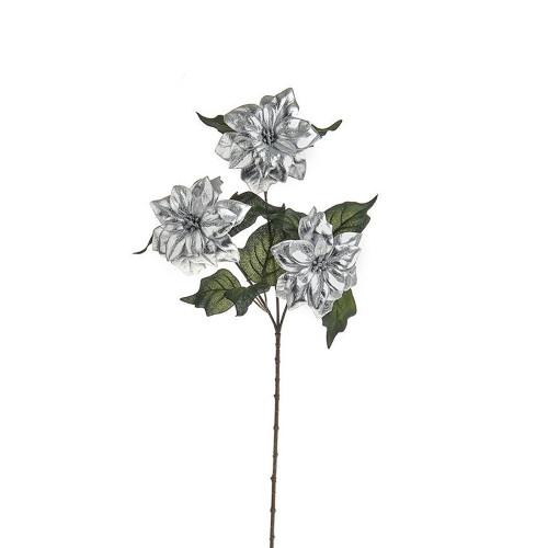 Faux Silk Poinsettia Flower Glitter Spray Silver