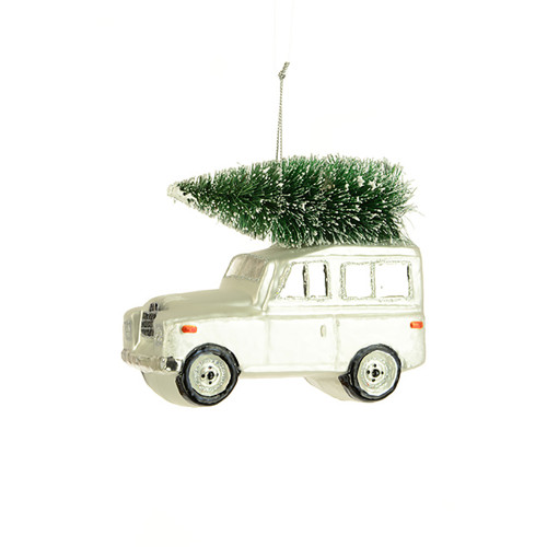 Land Rover With Christmas Tree Hanging Ornament White