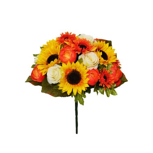 Faux Silk Autumn Sunflower Rose Bouquet
