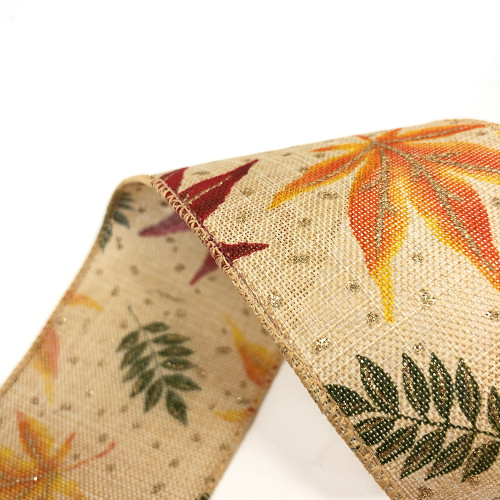 Natural 64mm/2.5in Wide Ribbon Printed Autumn Leaves Motif