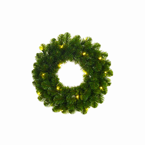 Artificial Pine Wreath with 20 Lights