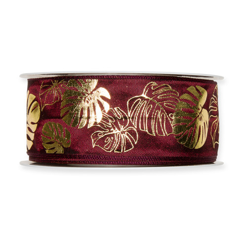 Fabric Ribbon with Gold Cheeseplant Motif Midnight Red
