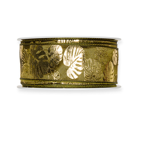 Fabric Ribbon with Gold Cheeseplant Motif Olive Green