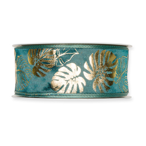 Fabric Ribbon with Gold Cheeseplant Motif Petrol