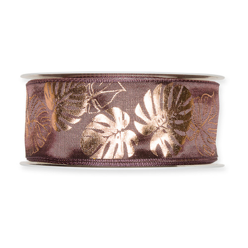 Fabric Ribbon with Copper Cheeseplant Motif Berry