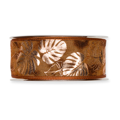 Fabric Ribbon with Copper Cheeseplant Motif Cognac