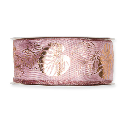 Fabric Ribbon with Copper Cheeseplant Motif Pink