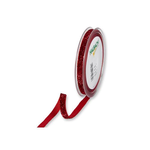 Velvet Ribbon Glitter Red