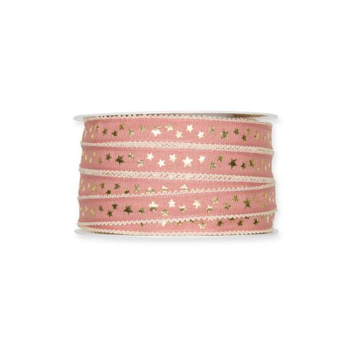 Fabric Ribbon with Gold Little Stars Motif Blush