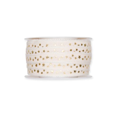 Fabric Ribbon with Gold Little Stars Motif Cream