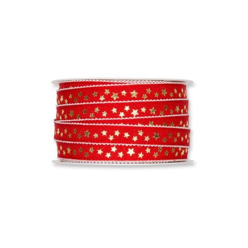 Fabric Ribbon with Gold Little Stars Motif Red