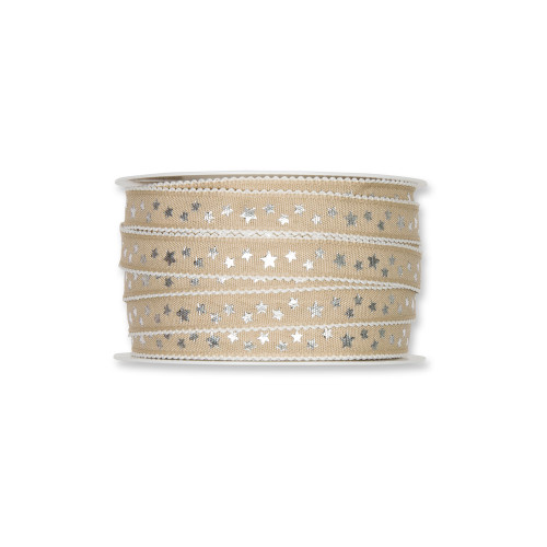 Fabric Ribbon with Silver Little Stars Motif Linen