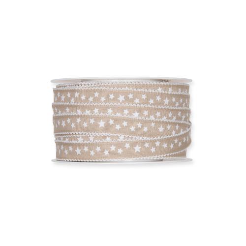 Fabric Ribbon with White Little Stars Motif Linen