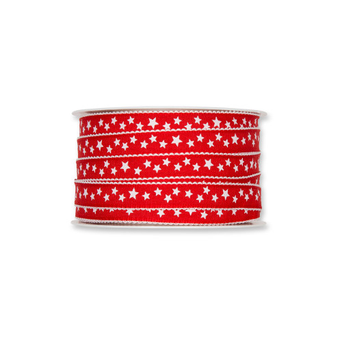 Fabric Ribbon with White Little Stars Motif Red