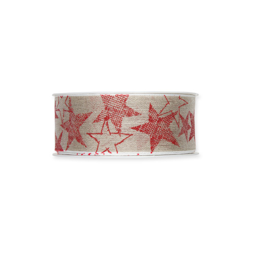 Linen Ribbon With Red Star Printed Motif 4cm