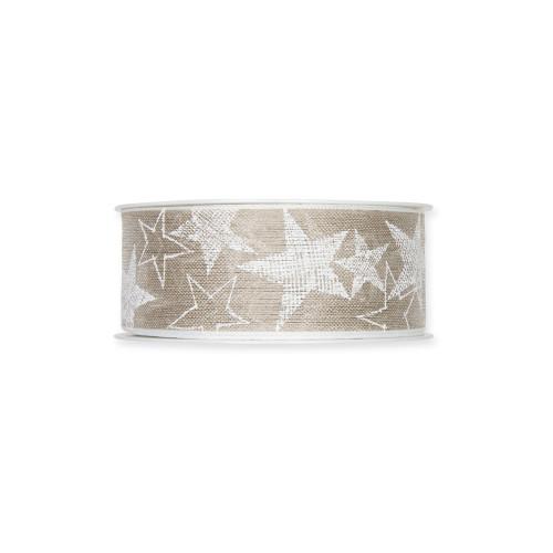 Linen Ribbon With White Star Printed Motif 4cm