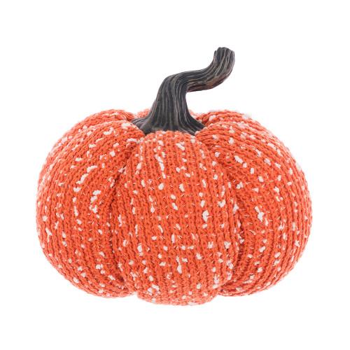 Knitted Orange Wool Pumpkin With Stalk