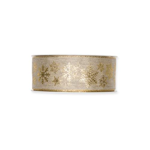 Linen Ribbon With Gold Snowflake Printed Motif 4cm
