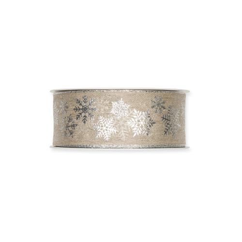 Linen Ribbon With Silver Snowflake Printed Motif 4cm