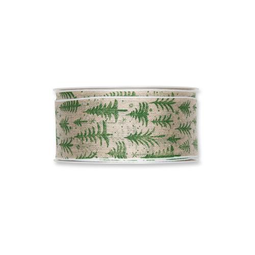 Natural Linen Colour 40mm Wide Ribbon Green Trees Stars Motif