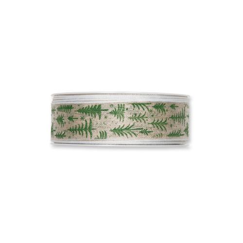Natural Linen Colour 25mm Wide Ribbon Green Trees Stars Motif